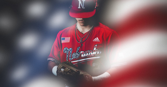 Husker Baseball Red White Blue